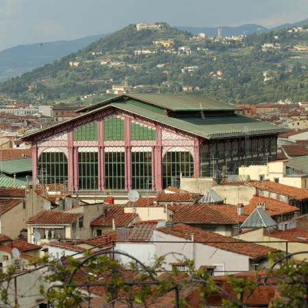 The Mercato Centrale   Central Market   , or Mercato di San Lorenzo and florentine hills, Florence, Italy
