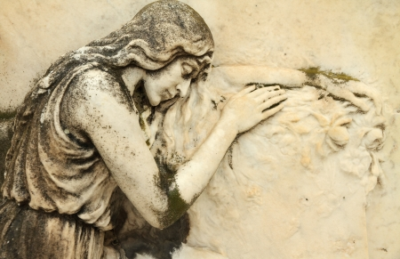devotions: beautiful antique cemetery relief with sleeping angel, Italy, Europe