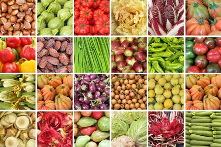 agriculture wallpaper: collage with vegetables and fruits from farmers market in Italy