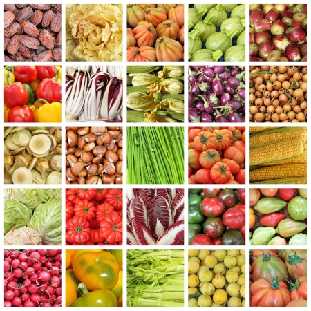 collection of images of vegetables  and fruits from farmers market in Italy  photo
