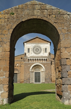 etrurian:  church of Saint Peter  San Pietro in Italian , in Lombard - Romanesque style, Tuscania, province Viterbo, Lazio, Italy, Europe Stock Photo