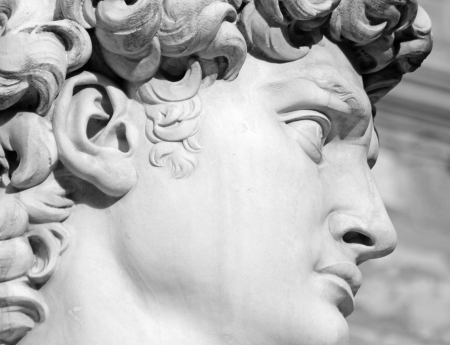 face of David by Michelangelo, Florence, Italy Stock Photo