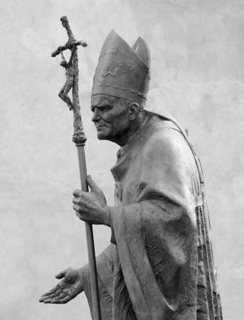 Sculpture of  Pope John Paul II  by Zemla   Blessed John Paul or John Paul the Great,Papa Giovanni Paolo II, Karol Jozef Wojtyla    on Wawel  in Krakow, Malopolska, Poland, Europe