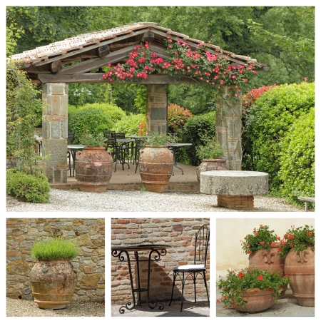 arbor: tuscan arbor collage, Italy Stock Photo