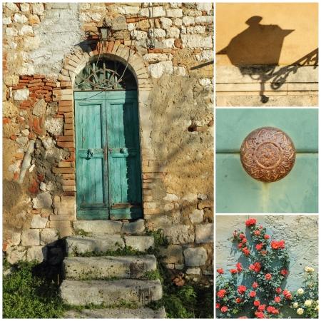 素朴な戸口コラージュ、トスカーナ、イタリア、ヨーロッパ