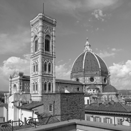 fiore: fantastic view of  the Basilica di Santa Maria del Fiore   Basilica of Saint Mary of the Flower  , Florence, Italy, Europe Stock Photo