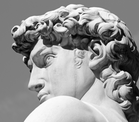 michelangelo: head of David sculpture by  Michelangelo, Florence, Tuscany, Italy, Europe