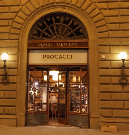 FLORENCE, ITALY - SEPTEMBER 23  historic bar and delicatessen  Procacci - located  on  prestigious Via de Tornabuoni  Famous  for its  sandwiches  with truffles Florence, Italy, on 23 September, 2013