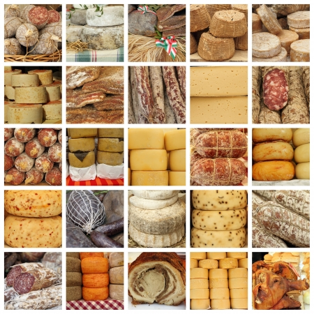 butcher's shop: cheese and  meat  specialties  on italian farmers market - collage  Stock Photo