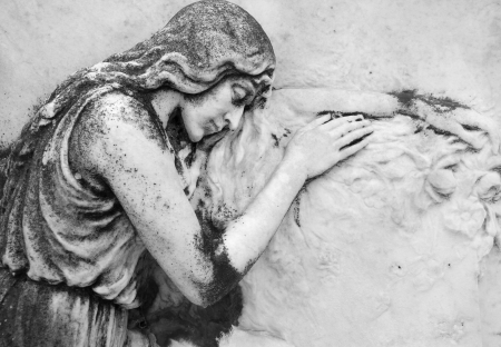 burial:  antique bas - relief  with sleeping angel on cemetery  San Michele, Venice, Italy, Europe Stock Photo