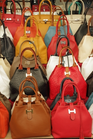 colorful elegant leather hand bags collection on Mercato di San Lorenzo   Mercato Centrale   in Florence, Italy, Europe