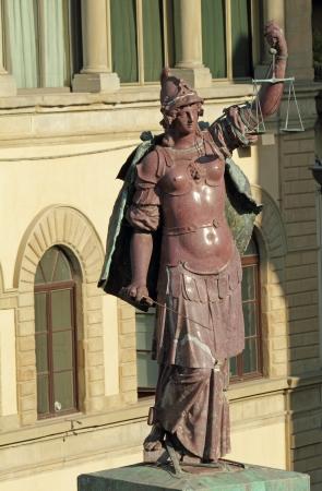 trinita: Lady Justice on piazza Santa Trinita in Florence , detail of the column, Italy, Europe Stock Photo