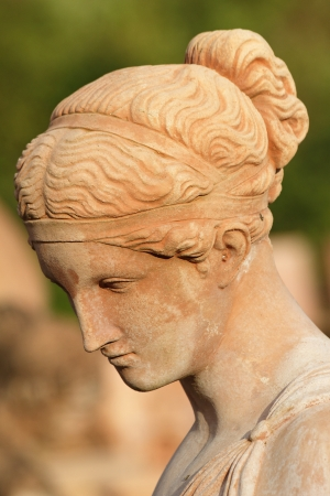 bowed head: beautiful woman with bowed head - classic sculpture, Florence, Italy, Europe