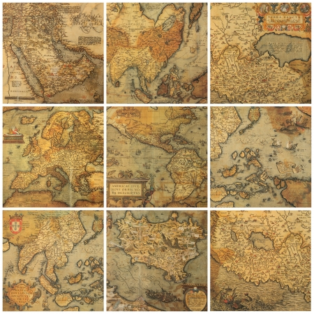 old maps collage photo