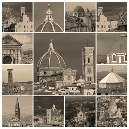 collage with aerial images of  city of Florence, Unesco world heritage site, Tuscany, Italy, Europe photo