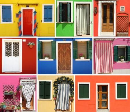 Burano village on venetian lagoon,characteristic for vivid painted houses,Italy, Europe photo