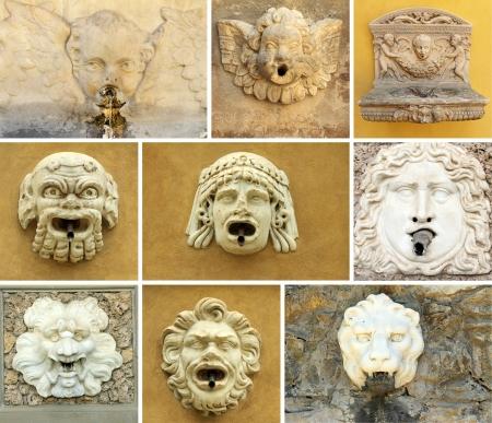 source d eau: antique boisson rue source d'eau collage, Italie