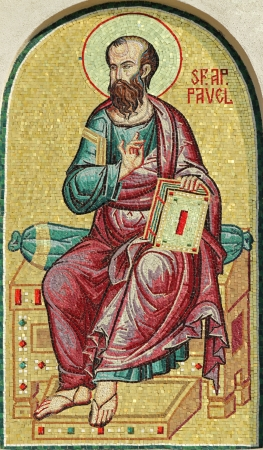 Saint Paul, detail of mosaic from facade of the Romanian Patriarchal Cathedral, Bucharest, Europe  Editorial
