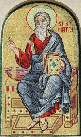 Matthäus, der Apostel, Detail der Fassade Mosaik aus der rumänischen patriarchalischen Kathedrale, Bukarest, Europa Editorial