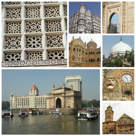 collage with limages of indian city Mumbai  formerly Bombay   India, Asia  photo