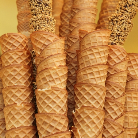 closeup of stack of empty waffle ice cream cones photo