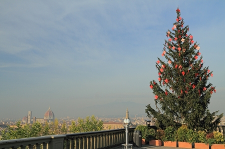 duomo of florence: christmas tree with red lilies on Piazzale  Michelangelo with view of Florence, Italy Stock Photo