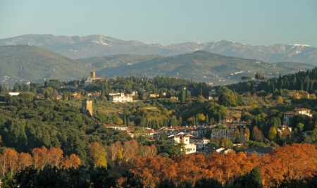 fantastic landscape with florentine hills seen from Bellosguardo, Florence, Tuscany, Italy, Europe