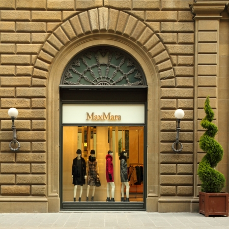 FLORENCE - DEC 9  MAX MARA boutique in Florence on famous for luxury shopping Nabuntowani street on December, 9,2013  Max Mara, luxury Italian fashion house was established in 1951 by Achille Maramotti