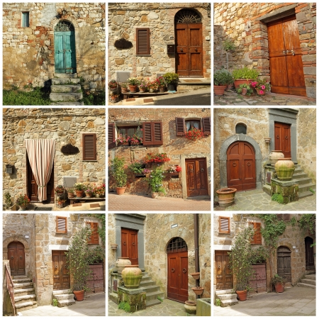 collection of pretty tuscan house doorways, Italy, Europe