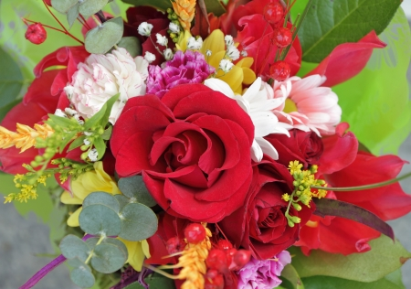 multicolor bouquet with red rose photo