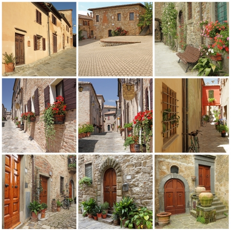 italian village: collage with picturesque italian small town streets