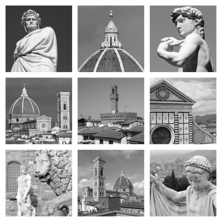 duomo of florence: cultural heritage of art of  Florence - collage