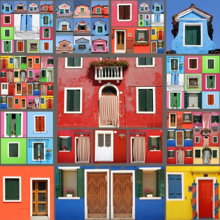 abstracte huis collage Stockfoto