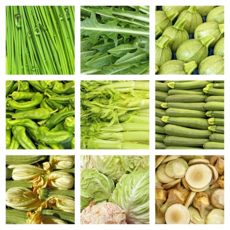 grocery store series: green vegetables collage Stock Photo