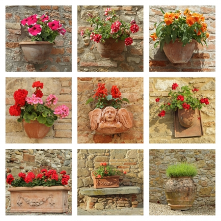 collection of ceramic poterry with flowers on antique wall, Tuscany   photo