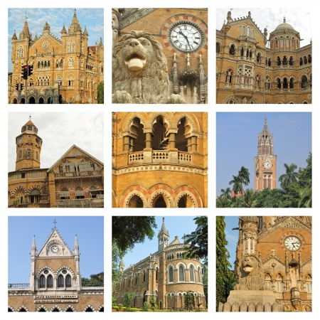 terminus: architecture of Mumbai city collage  Stock Photo