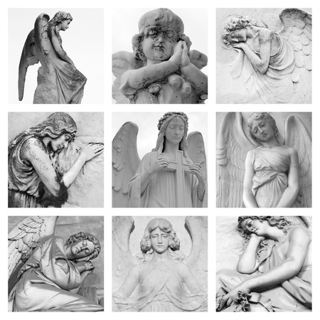 mourn: cemetery angelic sculptures collage