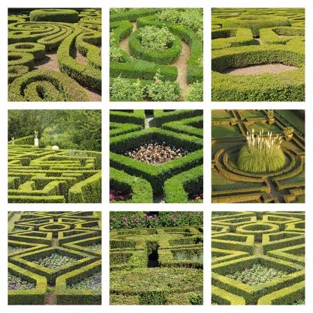collage with geometric italian gardens