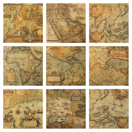 fragments: old maps fragments collage  Stock Photo