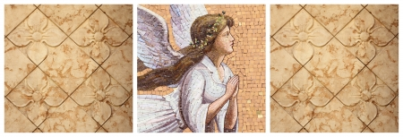 angelical: pattern with angelic mosaic and flowers Stock Photo