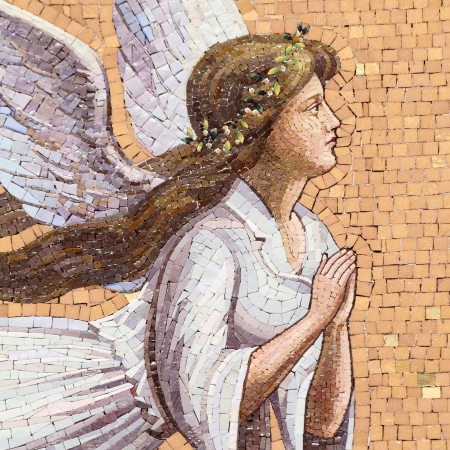 antique angelic decoration, mosaic on wall in Italy Stock Photo