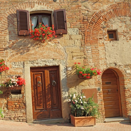 doors in tuscan borgo Certaldo photo