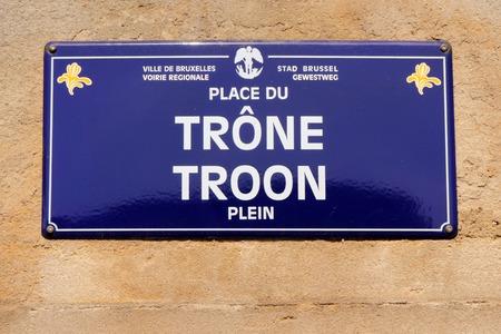 street signboard in Brussels  Place du Trone   Troon Plein  , Belgium, Europe