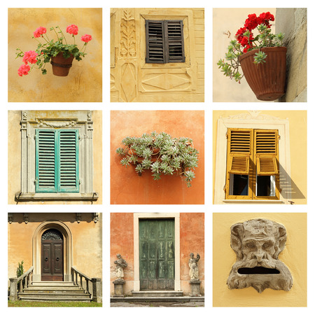 old stylish italian villa collage photo