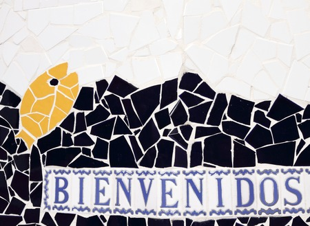 bienvenido: detail of welcome mosaic in spanish touristic village, Tenerife, Canary Islands