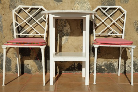 garden furniture set on terrace in Spain, Canary Islands photo