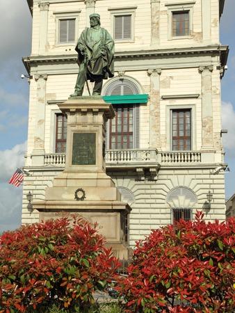Bronze statue by Cesare Zocchi commemorating Giuseppe Garibaldi in front of  the Palazzo Calcagnini   Canevaro di Zoagli   in  Florence, Italy