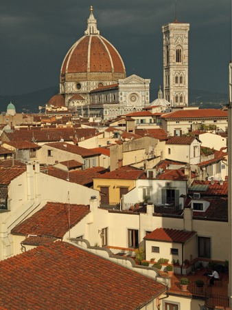 panoramic roof: cityscape of beautiful old town of Florence Stock Photo