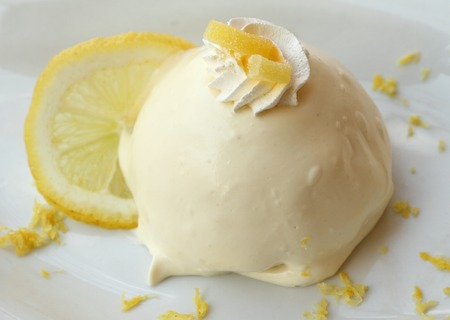 Lemon delight   delizia al limone   sponge cake filled and topped with a smooth lemon custard, a traditional recipe of the Amalfi coast, Italy