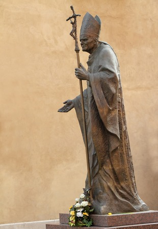 KRAKOW, POLAND - MARCH 28  Statue of Pope John Paul II  John Paul the Great,Papa Giovanni Paolo II,Karol Jozef Wojtyla canonized on 27 april 2014  on Wawel in Krakow,  Poland on March 28,2011